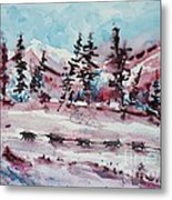 Dog Sled Metal Print
