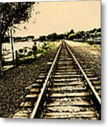 Dog Walk Along The Wayzata Train Tracks Metal Print