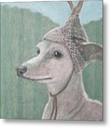 Dog With Antlers Metal Print
