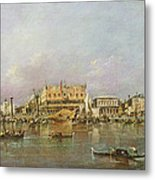 Doges Palace And View Of St. Marks Basin, Venice Oil On Canvas Metal Print