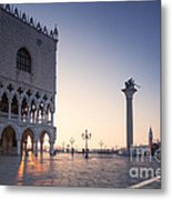 Doges Palace At Sunrise Venice Italy Metal Print