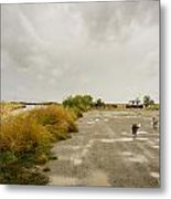 Dogs And Truck On A Muddy Dirt Road Metal Print