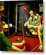 Dogs Playing Pool Wall Art Unknown Painter Metal Print