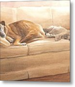 Dogs Sleeping On Couch Watercolor Portrait Metal Print