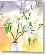 Dogwood In Watercolor Metal Print