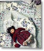 Doll On Bed Metal Print