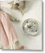 Doll With Tea Cup Metal Print