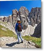 Dolomiti - Hiker In Sella Mount Metal Print