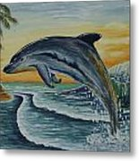 Dolphin Jumping Metal Print