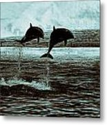 Dolphin Pair-in The Air Metal Print