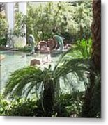 Dolphin Pond And Garden Green Metal Print