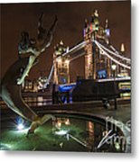 Dolphin Statue Tower Bridge Metal Print by Donald Davis