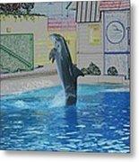 Dolphin Walking On Water Digital Art Metal Print