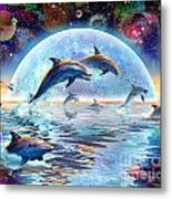 Dolphins By Moonlight Metal Print by Adrian Chesterman