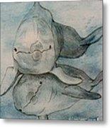 Dolphins Duo Underwater Art Cathy Peek Metal Print