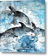 Dolphins In Gran Canaria Metal Print