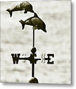 Dolphins Weathervane In Sepia Metal Print by Ben and Raisa Gertsberg