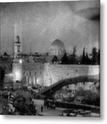 Dome Of The Rock -- Black And White Metal Print