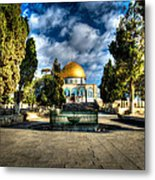 Dome Of The Rock Hdr Metal Print by David Morefield