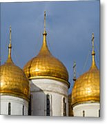 Domes Of The Dormition Cathedral Of Moscow Kremlin - Square Metal Print