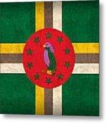 Dominica Flag Vintage Distressed Finish Metal Print