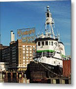 Domino Sugars Baltimore With A Boat Metal Print