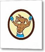 Donkey Boxing Celebrate Circle Cartoon Metal Print