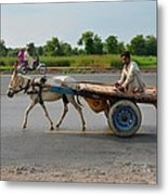 Donkey Cart Driver And Motorcycle On Pakistan Highway Metal Print