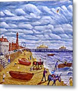 Donkey Rides On Blackpool Beach Metal Print