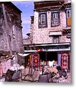 Donkeys In Jokhang Bazaar Metal Print