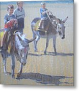Donkeys At Borth Beach Metal Print