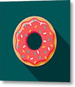 Donut Flat Design Coffee & Tea Icon Metal Print