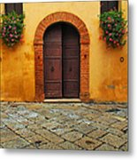 Door And Flowers In A Tuscan Courtyard Metal Print