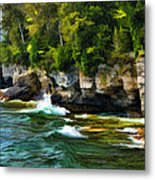 Door County Cave Point Cliffs Metal Print