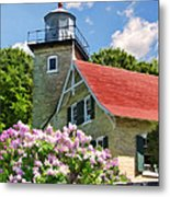 Door County Eagle Bluff Lighthouse Lilacs Metal Print by Christopher Arndt
