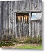 Barn Door With A Window Metal Print