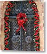 Door With Christmas Decoration  Metal Print