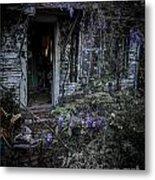 Doorway And Flowers Metal Print