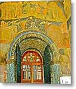 Doorway Entry To Cathedral Of The Archangel Inside Kremlin Walls In Moscow-russia Metal Print
