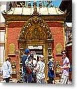Doorway In Bhaktapur Durbar Square In Bhaktapur-nepal Metal Print