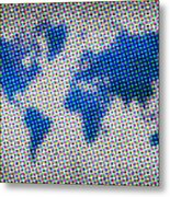 Dotted Blue World Map Metal Print