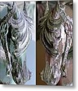 Double Portrait Of Old Carousel Horse Metal Print