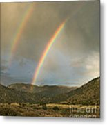 Double Rainbow In Desert Metal Print