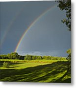 Double Rainbow Over Fields Metal Print