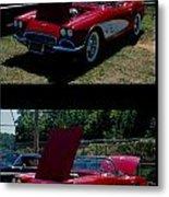 Double Red Corvette Metal Print