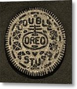 Double Stuff Oreo In Sepia Negitive Metal Print