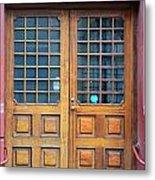 Double Wood Door Iceland Metal Print