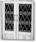 double wooden doors with wrought iron decorative window guards Tenerife Canary Islands Spain Metal Print