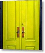 Double Yellow Doors Metal Print
