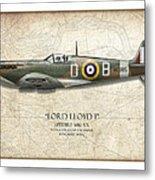 Douglas Bader Spitfire - Map Background Metal Print by Craig Tinder